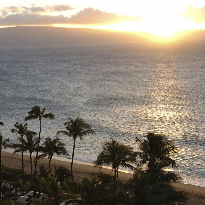 Maui scenery at sunset